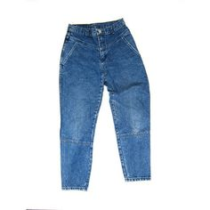 80s High Waist Blue Jeans Worn In Denim Tapered Leg Mom Jeans Vintage... (2.720 RUB) ❤ liked on Polyvore featuring bottoms