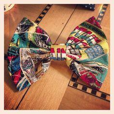 Marvel superheroes  comic book fabric hair bow. $5.00, via Etsy.