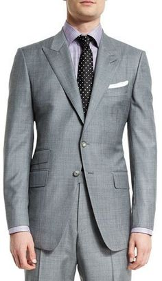 TOM FORD O'Connor Base Sharkskin Two-Piece Suit, Light Gray