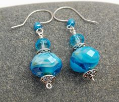 Aqua Blue Swirl Beaded Earrings
