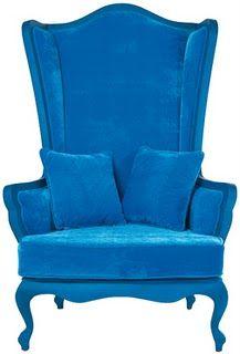 Gorgeous oversized blue velvet wing chair #design #colour