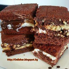 Delishar: One woman's kitchen adventure : S'mores Sandwiched Milo Brownie!