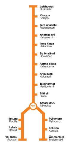 HELSINGIN METROASEMAT ANAGRAMMEINA * Miten tehdä metromatkasta mielenkiintoisempi? No tietenkin luomalla uudet asemien nimet sekoittamalla niiden kirjaimet. Hyvää matkaa!