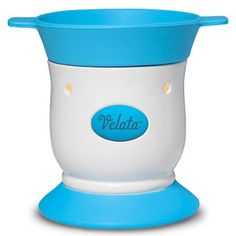 Blue Razz Pedestal Velata Fondue Warmer  This lovely warmer is accented by a perfect pop of blue. Price $40.00, Shop on my website at https://deannawallace.velata.us/Velata/Home  If you are interested in receiving a catalog, ordering, hosting a party, or joining my team please contact me!!!