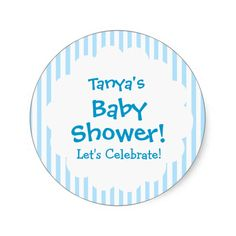 Baby Shower BOY Blue Stripes V9 Sticker   To see more customizable striped Jaclinart gift items:   http://www.zazzle.com/jaclinart+striped+gifts?st=date_created&ps=120  #stripes #striped #pattern #jaclinart #design #create