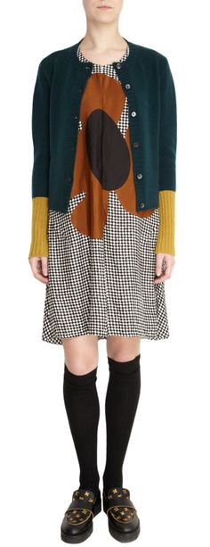 flower dress + Marni Cardigan. I picture this as more of an A-line dress, not so baggy. Like the colors though.