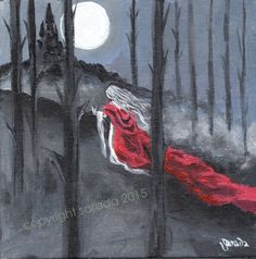 Gothic horror vampire painting full moon forest long red crimson cloak, haunted…
