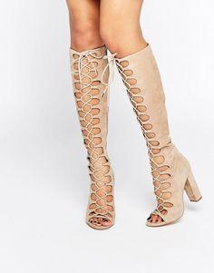 Kendall + Kylie   Kendall + Kylie Beige Tie Up Knee Sandals
