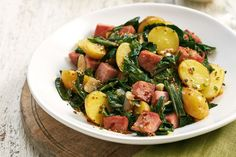 Polish sausage transforms our warm Swiss chard and kielbasa potato salad into a satisfying meal. Photo by Jeff Coulson.