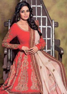 Beautiful: #Sridevi @SrideviBKapoor #Anarkali ~ Indian Fashion Trends, India Fashion, Indian Wedding Fashion, Asian Fashion, Fashion Ideas, Indian Attire, Indian Outfits, Indian Clothes, Desi Clothes
