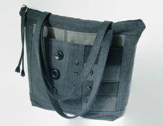 Black Denim Shoulder Bag, Black Jean Purse, Large Zipper Handbag, Medium Denim Tote Bag, Upcycled Recycled Repurposed Black Denim Fabric Bag by SuzqDunaginDesigns on Etsy https://www.etsy.com/listing/548326668/black-denim-shoulder-bag-black-jean