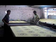 Table screen printing process, at Yash Prints PVT Ltd. Faridabad, India.  May 2010.