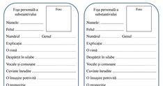 EmaLaScoala_Fisa substantivului.pdf Teacher Supplies, Worksheets, Activities, School, Autism, Alphabet, Kids, Literatura, Rome