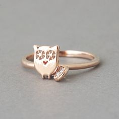 Lucky Charm Owl Ring Rose Gold - kellinsilver.com