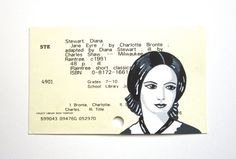 Jane Eyre / Charlotte Bronte Library Card Art by WingedWorld- This Artist turns obsolete library catalog cards into pieces of art Charlotte Bronte, Library Catalog, Jane Eyre, Library Card, English Literature, Finding Love, The Book, Librarians, Author
