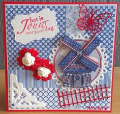 Hollandse kaart Dutch Tulip, Wind Of Change, 3d Cards, Windmills, Tulips, Holland, Card Making, Gift Wrapping, Design Ideas