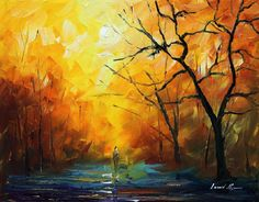 "THE COLORS OF MORNING — PALETTE KNIFE Oil Painting On Canvas By Leonid Afremov - Size 16""X20"""