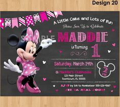 Minnie Mouse Birthday Invitation, Minnie Mouse Invitation 1st Birthday First Bday Girl, Pink Minnie Mouse Chalkboard Invite Party Printable by KidsPartyPrintables on Etsy https://www.etsy.com/listing/227739930/minnie-mouse-birthday-invitation-minnie