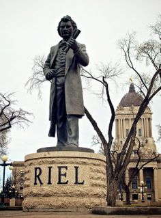 """Louis David Riel Statue ~ (located outside the legislative building) """" Riel was the founder of the province of Manitoba, and a political and spiritual leader of the Métis people of the Canadian prairies. Native Canadian, Canadian History, Cool Countries, Countries Of The World, All About Canada, Canada Eh, Western Canada, The Great White, Statues"""