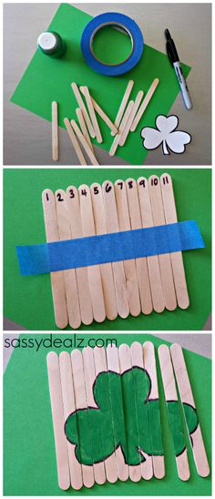 St Patrick's Day Shamrock Popsicle Stick Puzzle for Kids #DIY #Tutorial | http://www.sassydealz.com/2014/02/st-patricks-day-popsicle-stick-craft-diy-puzzles.html