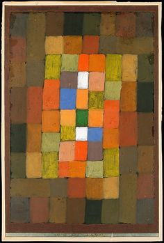 """""""Static-Dynamic Gradation,"""" 1923, Paul Klee. Oil and gouache on paper bordered with gouache, watercolor, and ink, mounted on cardboard; 15 x 10 1/4 in. (38.1 x 26 cm) Classification: Drawings."""