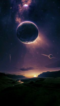 Astronomy Universe A beautiful fantasy or science fiction landscape, with planets in the sky above. - Dragon t-shirt Fantasy Kunst, Fantasy Art, Dream Fantasy, Galaxy Wallpaper, Wallpaper Backgrounds, Iphone Wallpaper, Art Galaxie, Planets In The Sky, Galaxy Art