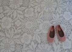 White stencil on concrete floors? I think so! Goes quite well with my bathroom plans.