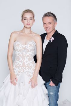 Designer Craig Braybrook with model Natalia in his beautiful gown that stars on Melbourne Bride's cover. Leather cut bodice is stunning.