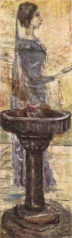 """Slavic Fortune-teller"" by Lajos Gulacsy Art Nouveau, Wall Art Prints, Canvas Prints, Art Database, Vintage Photography, Dark Art, Great Artists, Buy Art, Fountain"