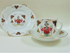 Crested China Folkestone Tea Cup Trio Unbranded Gilded Over Painted Ceramics