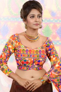 Multi-colour raw silk Kutch worked blouse  -BL502