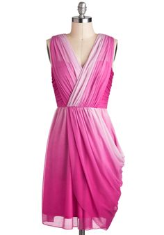 Twilight Gathering Dress in Pink by Max and Cleo - Pink, Ruching, Party, Sleeveless, Spring, V Neck, Prom, Wedding, Luxe, Mid-length, Bridesmaid, Ombre