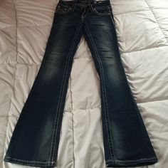 Miss Me Denim Jeans MAKE ME AN OFFERAbsolutely stunning pair of Miss Me denim jeans! Worn twice. Gorgeous stitching. Size 26. Miss Me Jeans Boot Cut