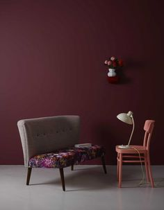 Marsala 2015 Amazing wall color Askew on Sterling Silve … Maroon Walls, Burgundy Walls, Burgundy Bedroom, Burgundy Paint, Room Paint Colors, Paint Colors For Living Room, Color Trends 2018, Red Colour Palette, Colour Palettes