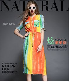 Korean Striped Silk Slim Fit Printed Shirt Dress
