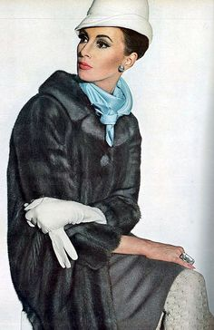 Wilhelmina in a mink coat by Ritter Bros., hat by Emme, Emily Wetherby scarf, Zentall ring, photo by Penn, Vogue US, Sept. 1964.  Love the gray and blue together.