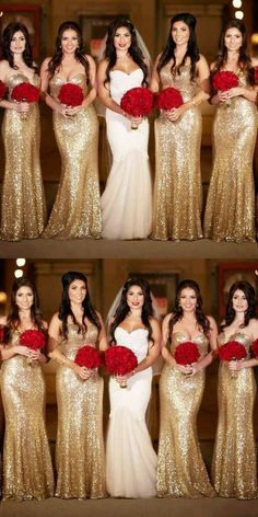 Prom Dress Fitted, Mermaid Sweetheart Sweep Train Gold Sequin Bridesmaid Dress There are delicate lace prom dresses with sleeves, dazzling sequin ball gowns, and opulently beaded mermaid dresses. Gold Sparkly Bridesmaid Dresses, Wedding Bridesmaids, Gold Sequin Bridesmaid Dresses, Gold Sequin Dress, Bridesmaid Outfit, Gold Sequins, Cheap Wedding Guest Dresses, Wedding Party Dresses, Dress Party