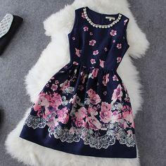 Pearl neckline navy floral dress