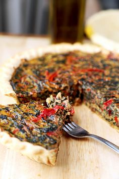 spring Swiss Chard Pie With Gruyère - Feed your family a healthy and beautiful spring Swiss Chard Pie With Gruyère for dinner tonight. Only 15 minutes to prep and ready to serve in less than an hour! Recipe, healthy, easy, quiche, tart, French, baking   pickledplum.com