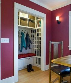 Turn+a+small+closet+into+a+mudroom+by+adding+a+bench%2C+hooks+and+a+shoe+rack.