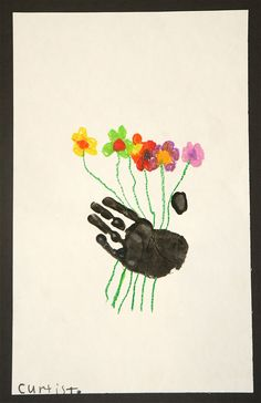 "Love this handprint with flowers - could do fingerprint flowers too ("",)"