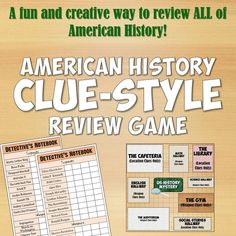 This review game for US History is incredibly fun and can be used all year long. It takes the basic rules of the classic board game Clue, but flips it so the suspects, murder weapons, and locations are all vocabulary terms from US History!