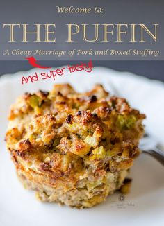 I successfully married pork and boxed stuffing into a cute little … muffin! The Stuffin Muffin becomes THE PUFFIN! The Pork And Stuffin Muffin - THE PUFFIN! Stuffing Recipes, Pork Recipes, Cooking Recipes, Yummy Recipes, Box Stuffing, Stuffing Muffins, Frugal Recipes, Dishes Recipes, Recipes