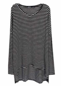 #SheInside Black White Striped Asymmetrical Loose T-Shirt