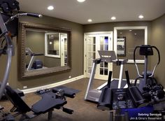 Home Gym Basement Gym Design, Like the French Doors and the funky mirror for an exercise room, as opposed to the wall of mirrors Home Gym Basement, Basement Remodeling, Basement Ideas, Garage Ideas, Home Gym Decor, At Home Gym, Latest House Designs, Home Gym Design, Gym Room