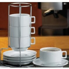 Wedding gift:Stackable Porcelain Cappuccino Cup & Saucer 9 Pc Set