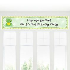 $12.49 Froggy Frog - Personalized Birthday Party Banners | BigDotOfHappiness.com