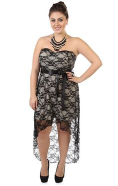 plus size strapless high low lace party dress