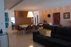 Apartamento 160m2 Recife- Home Decor- Colors Decor- Decoração com Cores-Decoração- Arquitetura Residencial- Design de Interiores- Sala de Estar e Jantar- Composição de Quadros- Escultura-Iluminação Pontual-