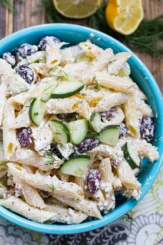 Tzatziki Pasta Salad with greek yogurt, feta cheese, and olives. We've got the pasta, spices & sun-dried tomatoes. Easy Pasta Salad Recipe, Easy Salad Recipes, Pasta Recipes, Cooking Recipes, Healthy Recipes, Cooking Tips, Cold Pasta, Mediterranean Recipes, Greek Recipes